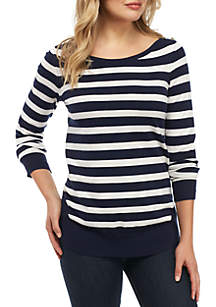 Stripe Round Hem Fine Gauge Sweater