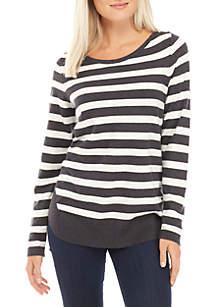 Petite Stripe Gold Button Fine Gauge Pullover Sweater