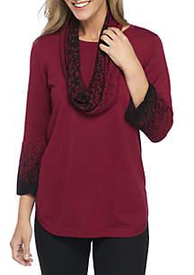 Print Infinity Scarf Sweater