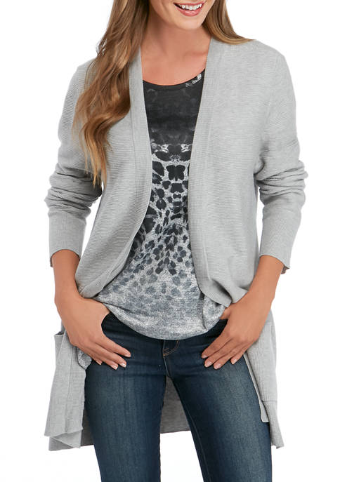 Kim Rogers® Womens Textured Cardigan with Pockets