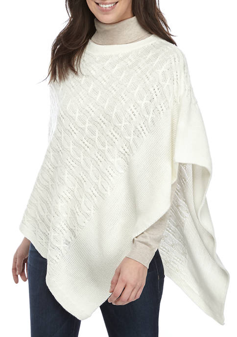 Kim Rogers® Womens Cozy Cable Poncho