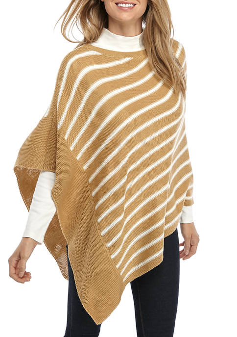 Womens Long Sleeve Cozy Striped Poncho