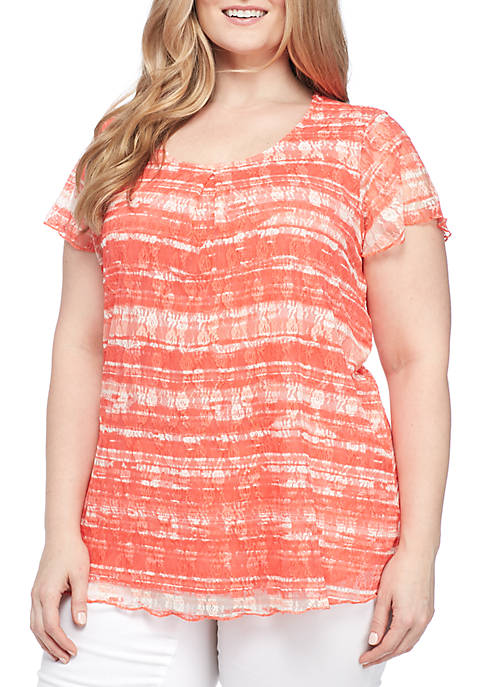 Kim Rogers® Plus Size Pleated Lace Top