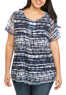Kim Rogers® Plus Size Short Sleeve Printed Inverted Pleat Top