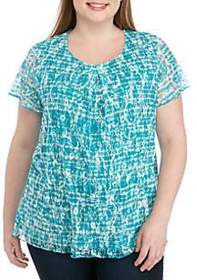 Kim Rogers® Plus Size Short Sleeve Invert Pleat Print Lace Top