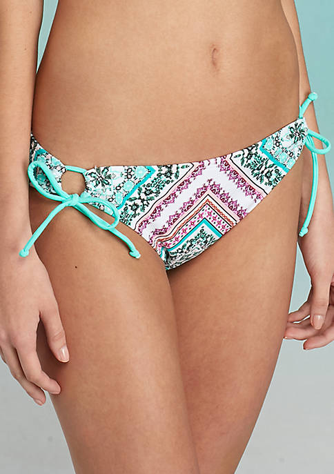 TRUE CRAFT Peaceful Patchwork Print Hipster Swim Bottoms