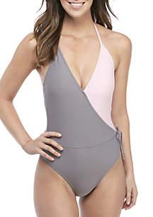 TRUE CRAFT Colorblock Surplice 1-Piece Swimsuit