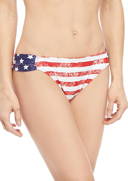 TRUE CRAFT Lady Liberty Stripe Hipster Swim Bottoms