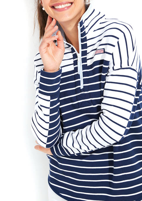 Mixed Stripe 1/2 Zip Jacket