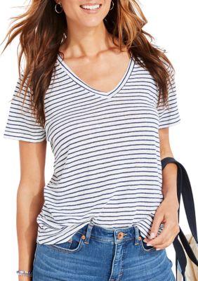 Vineyard Vines Womens Striped Linen V-Neck T-Shirt