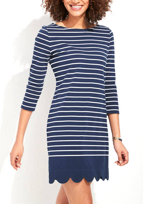 Striped Scalloped-Hem Knit Dress