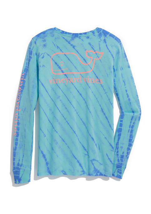 Womens Long Sleeve Ocean Tie Dye Vintage Whale Graphic T-Shirt