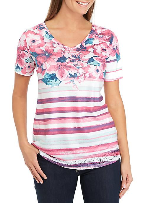 Kim Rogers® Short Sleeve Floral Yoke Top