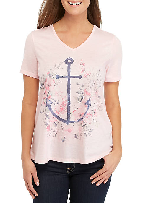 Kim Rogers® Short Sleeve Anchor Placement Top