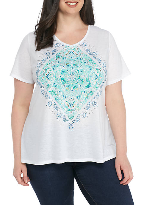 Kim Rogers® Plus Size Short Sleeve Large Tribal