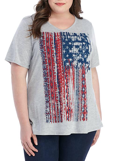 Kim Rogers® Plus Size American Flag V Neck