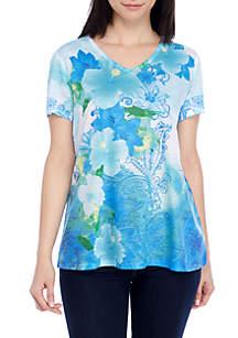 Petite Aqua Floral Top
