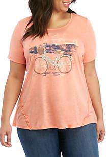 15b33c5e ... Kim Rogers® Plus Size Short Sleeve Bike Placement Top