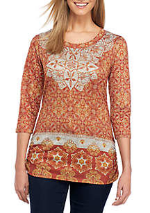 3/4 Sleeve Medallion Cinched Top
