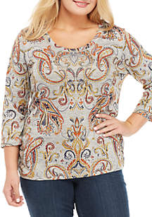 Plus Size 3/4 Sleeve Side Cinched Paisley Top