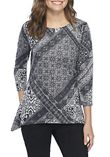 3/4 Sleeve Patch Printed Knit Top