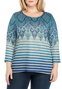 Plus Size Three-Quarter Sleeve Medallion with Stripe Hacci Top