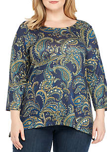 Plus Size Three-Quarter Sleeve Paisley Swing Hatchi Top