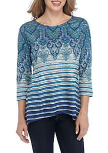Petite 3/4 Sleeve Medallion with Stripe Hacci Top