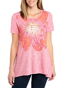 Short Sleeve Top with Large Pink Flower