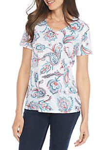 Short Sleeve Shark-Bite Paisley Print Tee Shirt