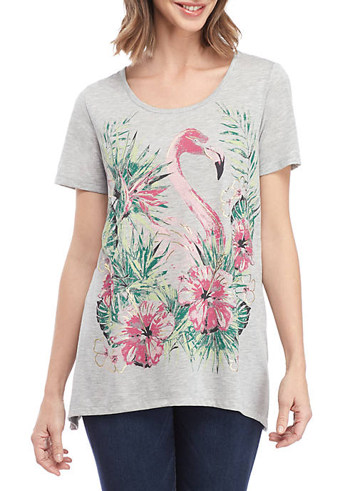 Kim Rogers® Short Sleeve Flamingo Shark Bite Top