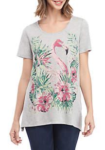 Kim Rogers® Short Sleeve Flamingo Shark Bite Top
