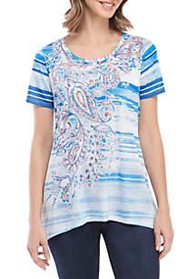 Kim Rogers® Short Sleeve Blue Sublimated Shark Bite Top