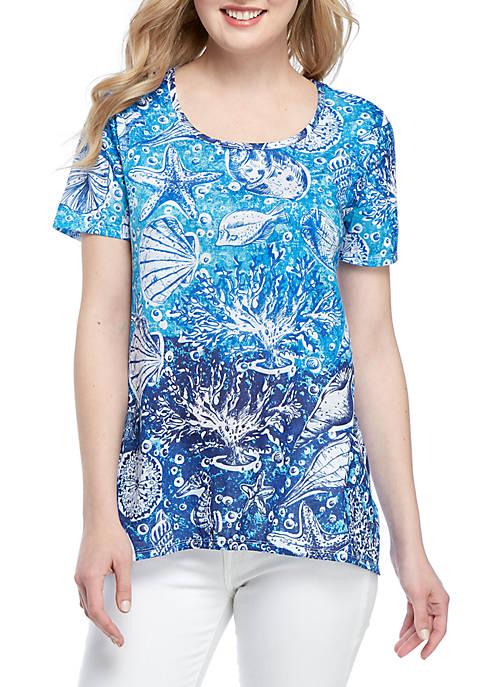 Kim Rogers® Sea Shells Shark Bite T Shirt