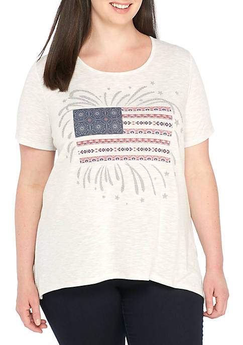 Kim Rogers® Plus Size Short Sleeve Flag Firework