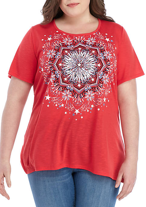 Kim Rogers® Plus Size Art Medallion T Shirt