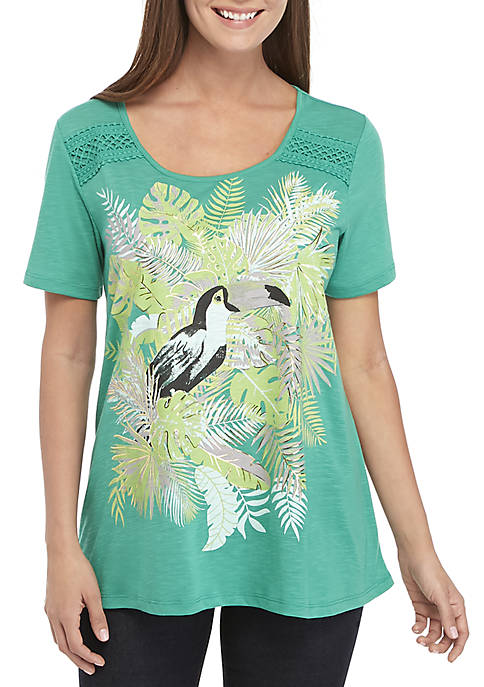 Kim Rogers® Short Sleeve Tucan Placement Pattern Top
