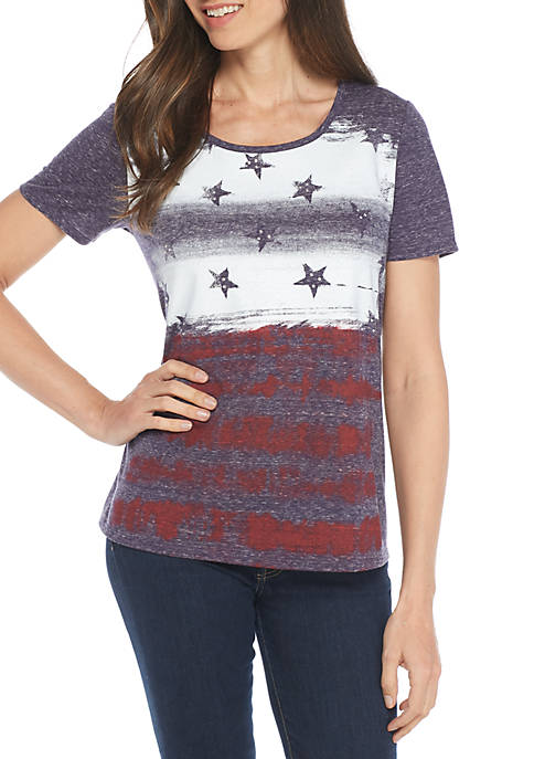 Kim Rogers® Short Sleeve Crew Swing Faded Flag