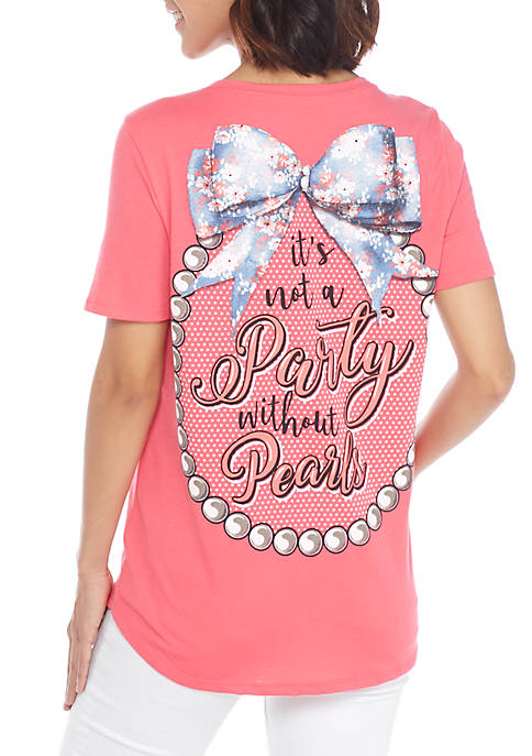 Kim Rogers® Short Sleeve Party With Pearl Tee