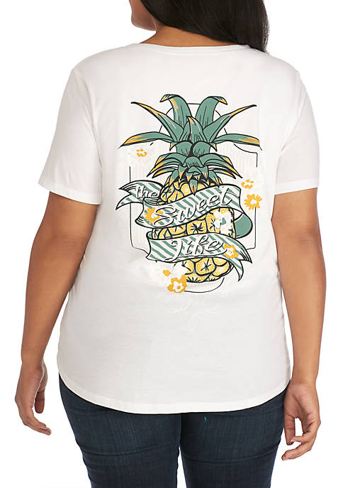 Kim Rogers® Plus Size Short Sleeve Pineapple Sweet