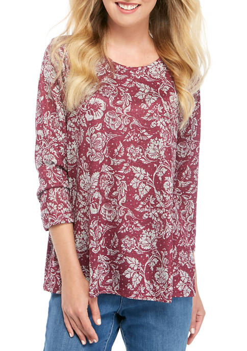 Womens 3/4 Sleeve Hacci Floral Print Top