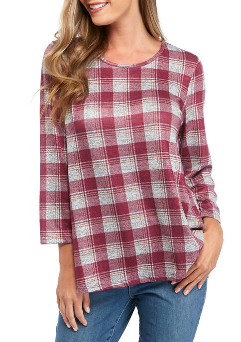 Kim Rogers® Womens 3/4 Sleeve Hacci Plaid Print