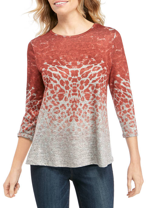 Womens 3/4 Sleeve Hacci Animal Print Top