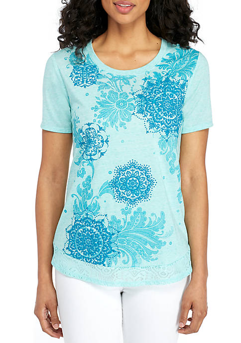 Kim Rogers® Short Sleeve Layered Puff Print Top