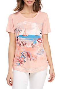 Kim Rogers® Glitter Beach Scenic T Shirt