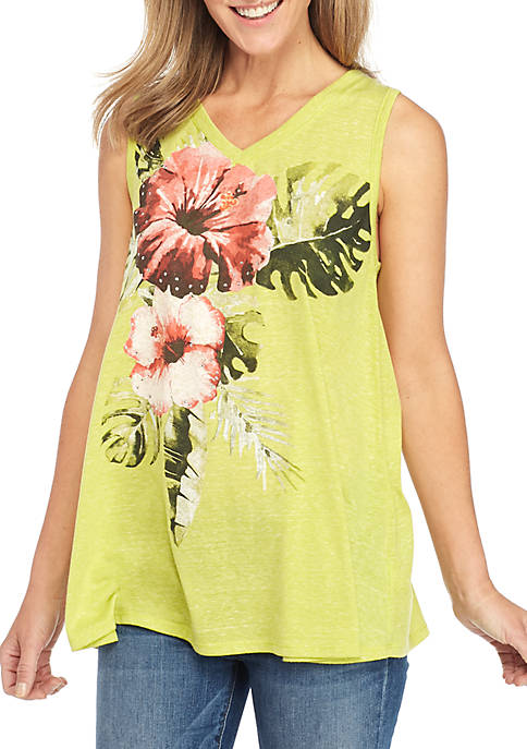 Kim Rogers® Sleeveless Floral Swing Top