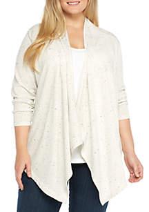 Plus Size Long Sleeve Ruffle Front Cardigan