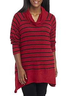 Plus Size Striped Shark-Bite Cowl Neck Sweater