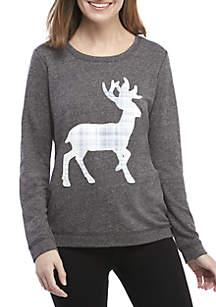 45d9df711d3c ... Kim Rogers® Sweatshirt with Plaid Reindeer