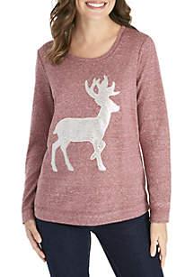 Long Sleeve Metallic Reindeer Shirt
